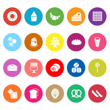 eclair: Variety bakery flat icons on white background, stock vector