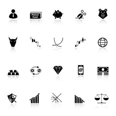bearish business: Stock market icons with reflect on white background, stock vector