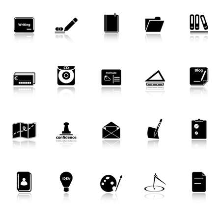 hilight: Writing related icons with reflect on white background, stock vector