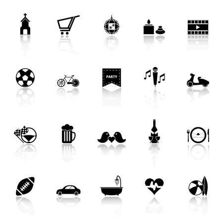 chill out: Friday and weekend icons with reflect on white background, stock Illustration