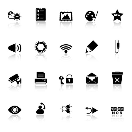 General computer screen icons with reflect on white background, stock Vector
