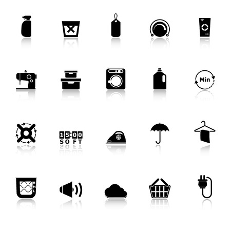 steam bath: Laundry icons with reflect on white background, stock  Illustration