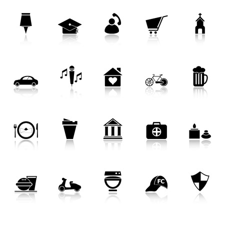 Map sign and symbol icons with reflect on white background, stock