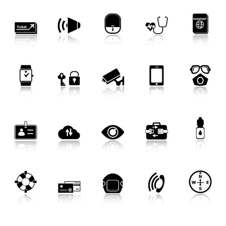 belt up: Passenger security icons with reflect on white background, stock