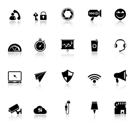 Smart phone screen icons with reflect on white background, stock Vector