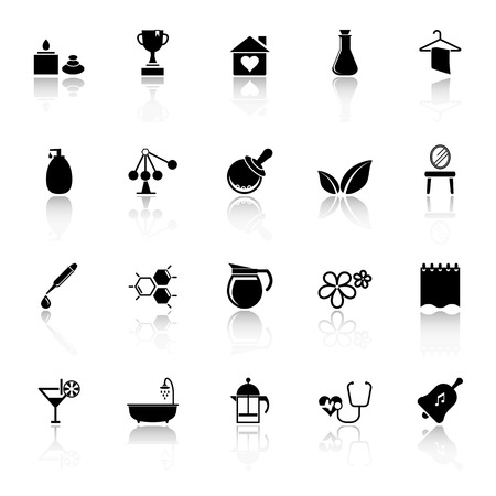 Spa treatment icons with reflect on white background, stock Vector