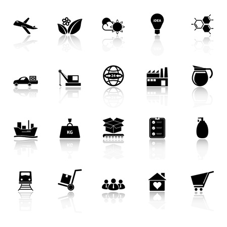 Supply chain and logistic icons with reflect on white background, stock