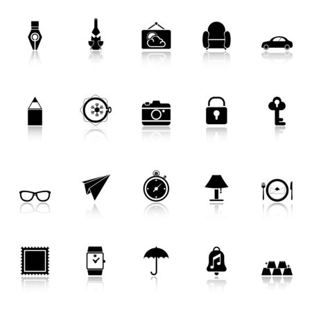 reflect: Vintage collection icons with reflect on white background, stock