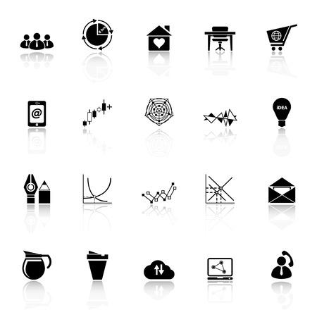stock trader: Iconos organizaci�n virtual con reflejan sobre fondo blanco, stock