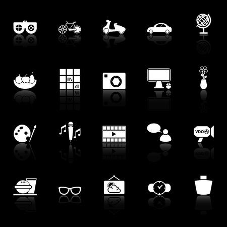 chill out: Favorite and like icons with reflect on black background, stock vector Illustration