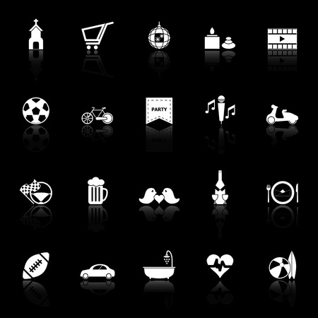 chill out: Friday and weekend icons with reflect on black background, stock vector