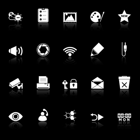 General computer screen icons with reflect on black background, stock vector Vector