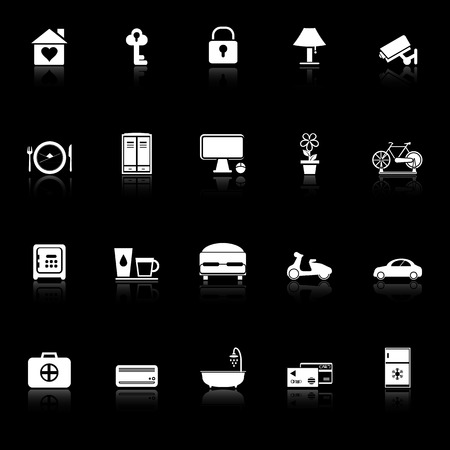 staying: General home stay icons with reflect on black background, stock vector
