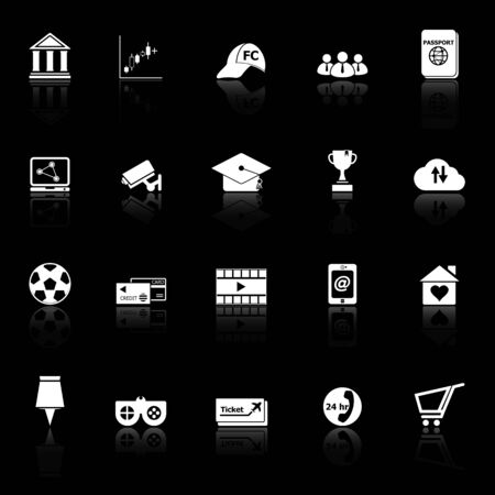 reflect: General online icons with reflect on black background, stock vector
