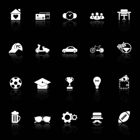 work experience: Normal gentleman icons with reflect on black background, stock vector