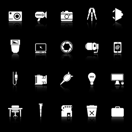Photography related item icons with reflect on black background, stock vector Illustration