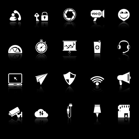 Smart phone screen icons with reflect on black background, stock vector Vector