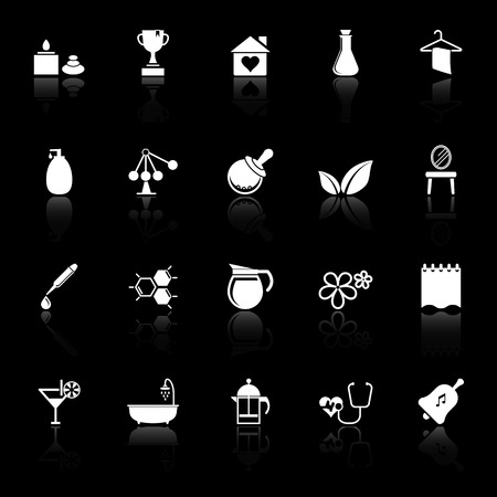 Spa treatment icons with reflect on black background, stock vector Vector