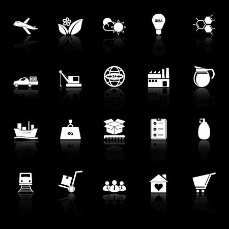 Supply chain and logistic icons with reflect on black background, stock vector Illustration