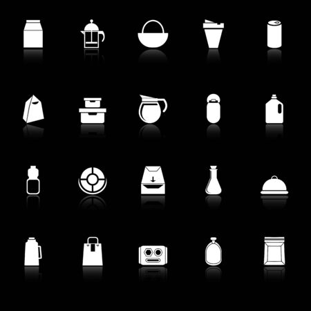 plasticity: Variety food package icons with reflect on black background, stock vector