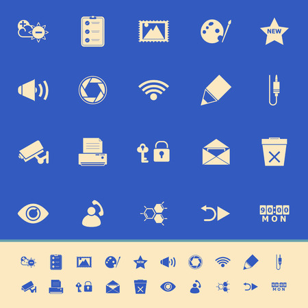 General computer screen color icons on blue background, stock vector Vector