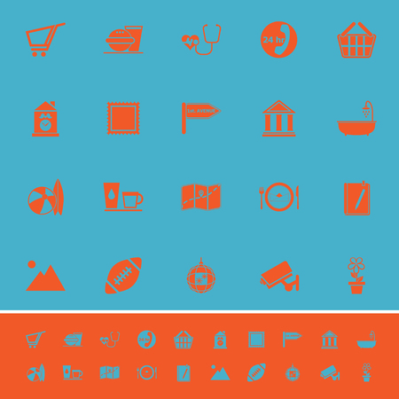 market place: Public place sign color icons on light blue background, stock vector Illustration