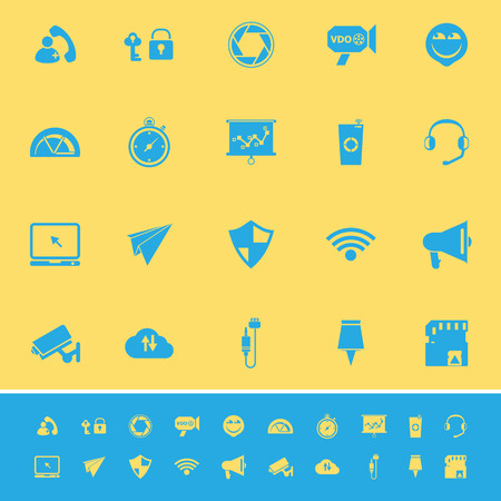 Smart phone screen color icons on yellow background, stock vector Vector