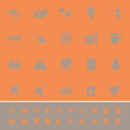raw material: Supply chain and logistic color icons on orange background, stock vector