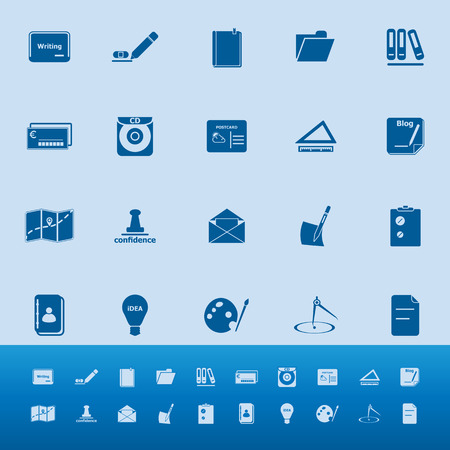 hilight: Writing related color icons on blue background, stock vector