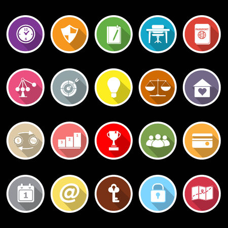 Thinking related icons with long shadow, stock vector Illustration