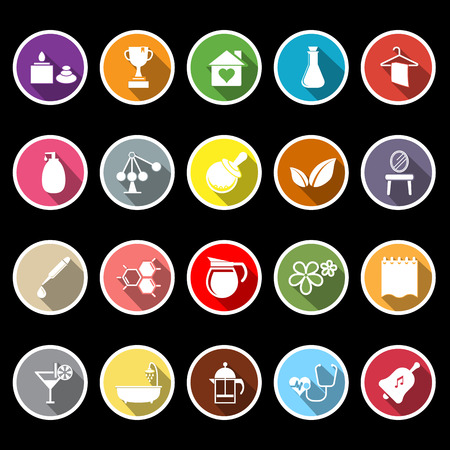 Spa treatment flat icons with long shadow, stock vector Vector