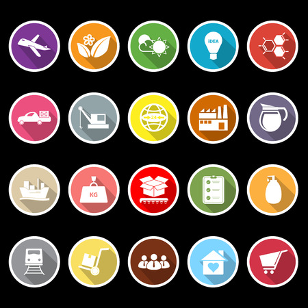 Supply chain and logistic flat icons with long shadow, stock vector