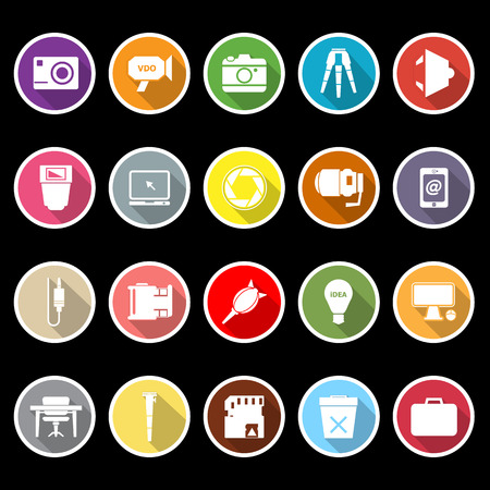 Photography related item flat icons with long shadow, stock vector Illustration