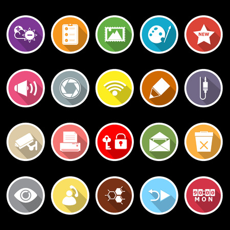 General computer screen flat icons with long shadow, stock vector Vector