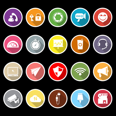Smart phone screen flat icons with long shadow, stock vector Vector
