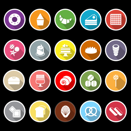 cheesecake: Variety bakery flat icons with long shadow, stock vector