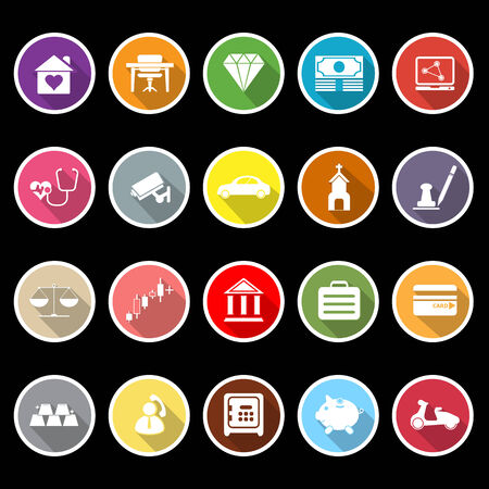 Insurance related flat icons with long shadow, stock vector