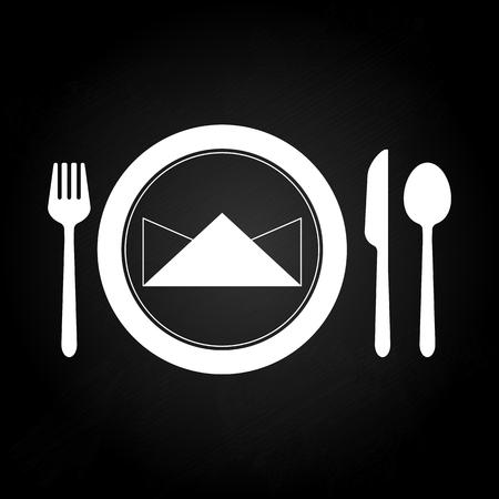 mesa de comedor: Mesa de comedor con Ready set cuchara, Vector stock
