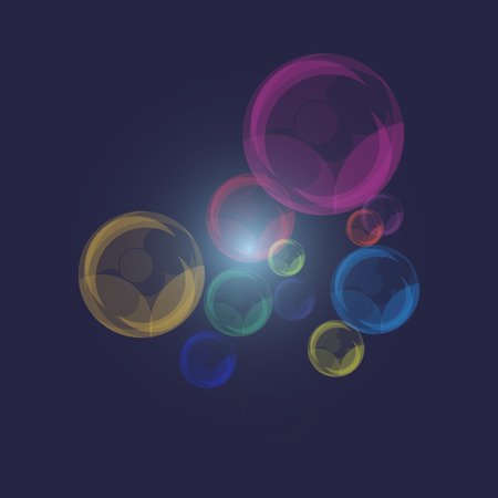 Color of pearl bubbles on dark blue background, stock vector Illustration