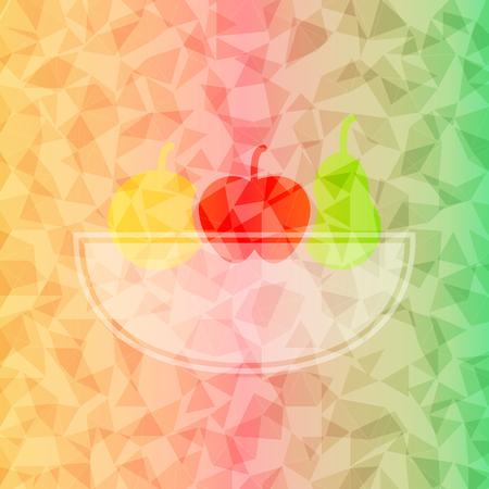 canasta de frutas: Cesta de fruta fresca en el fondo tri�ngulo deslumbrado, Vector stock