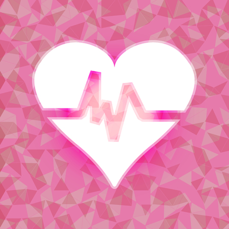 dazzled: Heart beat on pink dazzled triangle background, stock vector Illustration