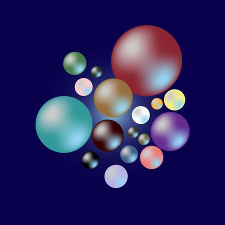color samples: Color of pearl samples on dark blue background, stock vector Illustration