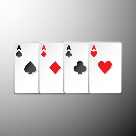 hold em: Four playing cards suits symbols on gray background, stock vector Illustration