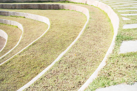 playing field: Playing field and walk path on grass, stock photo