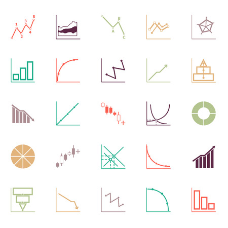 candlestick: Economic and investment diagram line icon flat color, stock vector