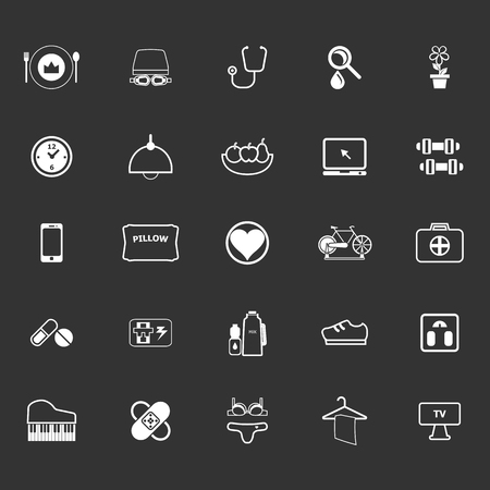 quality of life: Quality life line icons on gray background, stock vector
