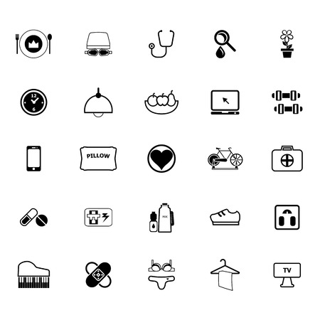 quality of life: Quality life line icons on white background, stock vector