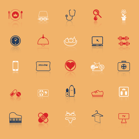 quality of life: Quality life line icons with reflect, stock vector Illustration