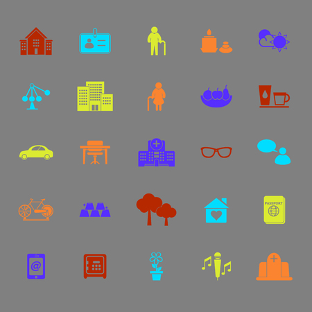 retirement community: Retirement community color icons, stock vector