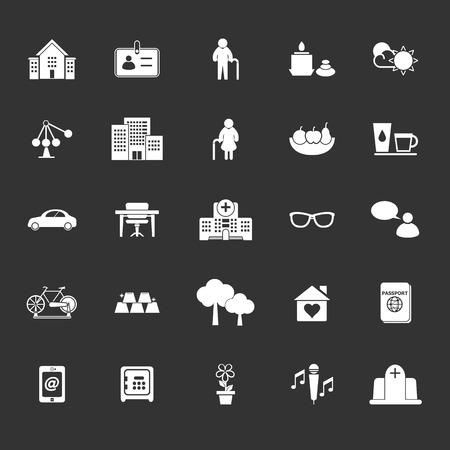 retirement community: Retirement community icons on gray background, stock vector Illustration